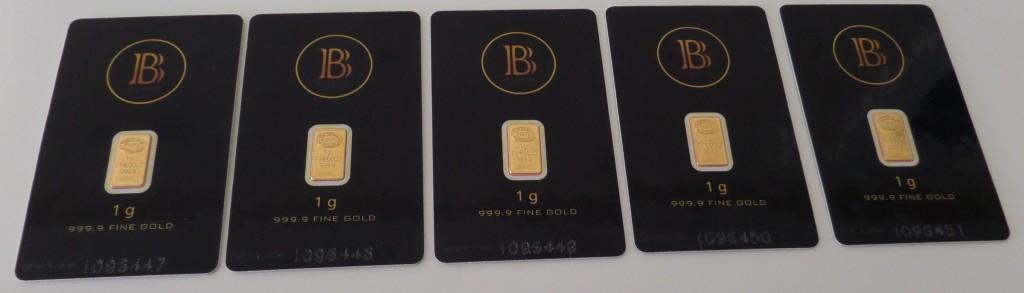 5x 1 gram BlackCoin Gold Bars 999.9 Fine
