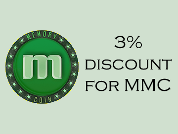Memorycoin Discounts – 3% OFF for all orders with Memorycoin during August
